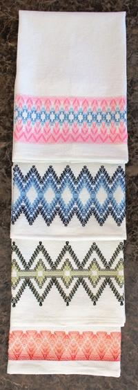 Huck toweling four designs
