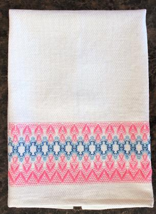 Pink and blue huck toweling